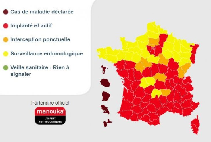 Carte : implantation du moustique-tigre en France au 20 mai 2020