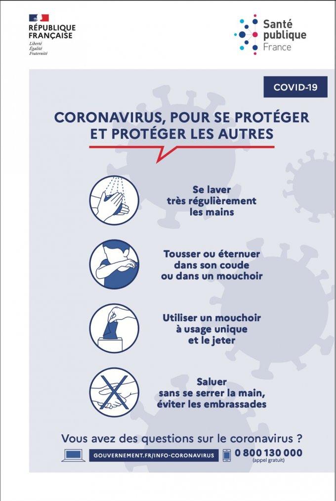 Rappel des gestes barrière pour se protéger du coronavirus
