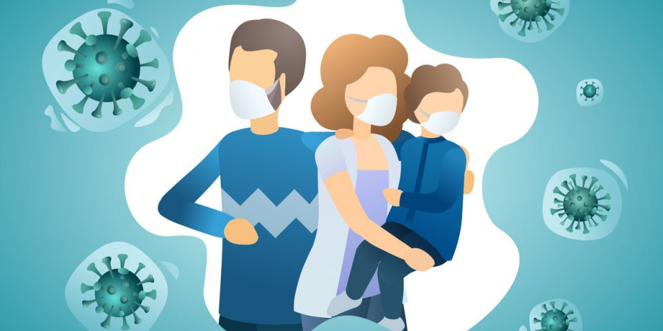 family is protecting their child from virus covid-19 people wearing masks and stop the spread of viruses coronavirus quar...