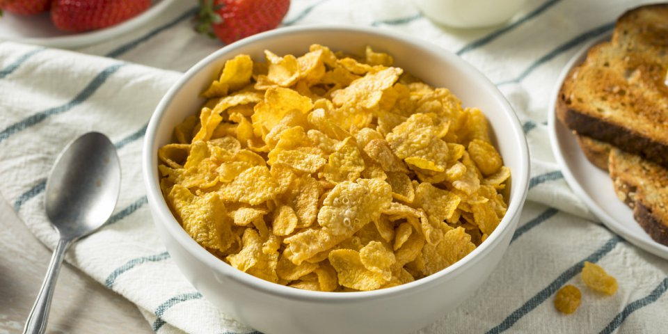 healthy corn flakes with milk for breakfast with fruit