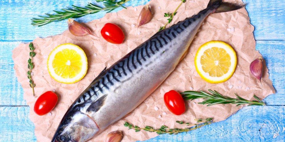 ingrédients pour la cuisson des filets scomber, y compris le maquereau cru, le citron, l'ail, le romarin
