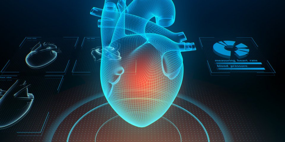 heart with pain center virtual digital imaging 3d illustration