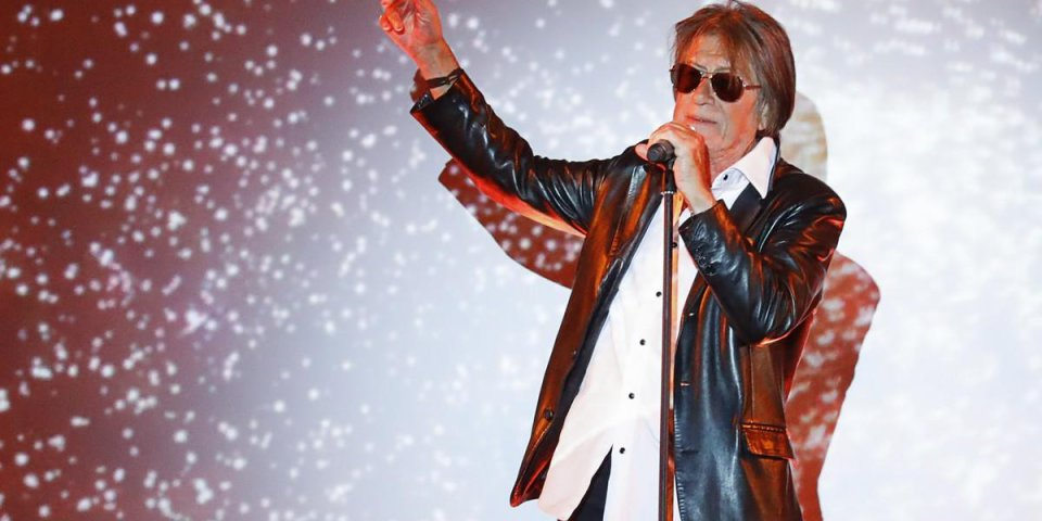 french singer jacques dutronc performs on stage for the 2017 spring summer ready-to-wear collection fashion show by etam,...