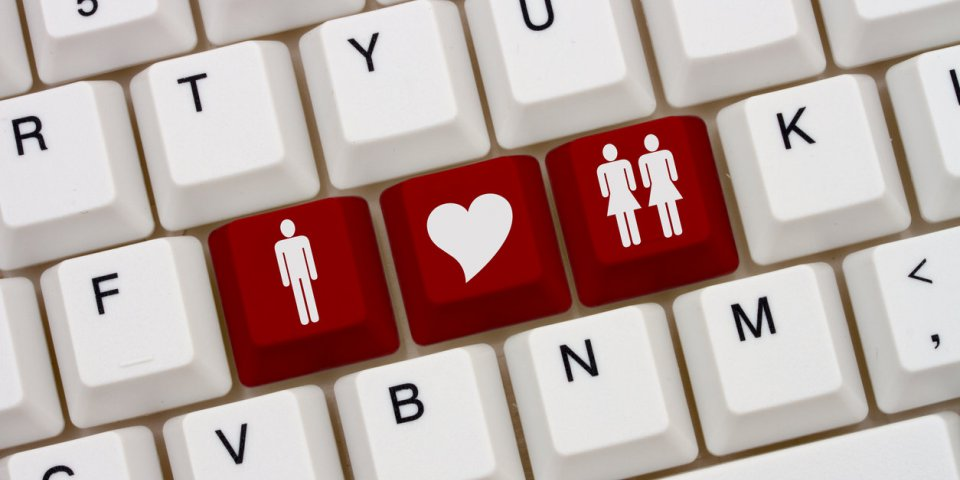 threesome internet dating sites, a close-up of a keyboard with red highlighted symbol of man and two women and heart
