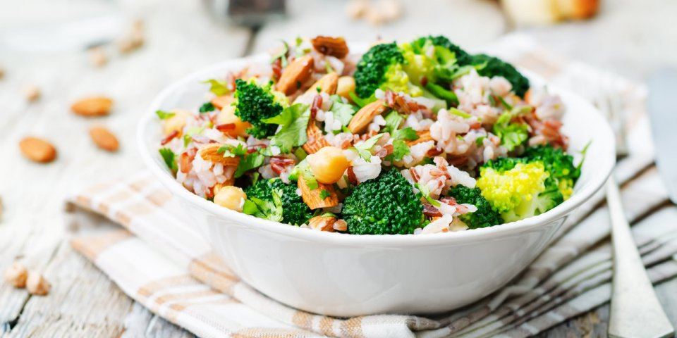 broccoli chickpea cilantro almond white and red rice toning selective focus