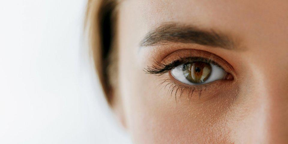 eye health and care closeup of beautiful woman big brown eye and eyebrow girl eye smooth healthy skin and perfect natural...