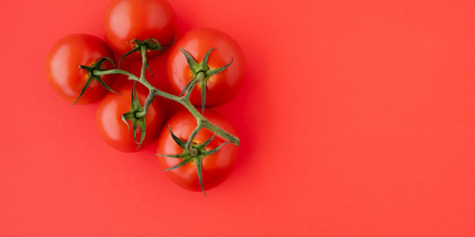 red tomatoes close up fresh organic tomatoes on red background, directly from above with copy space group of objects, hea...