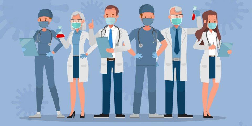 set of doctor wear medical mask corona virus quarantine concept character vector design