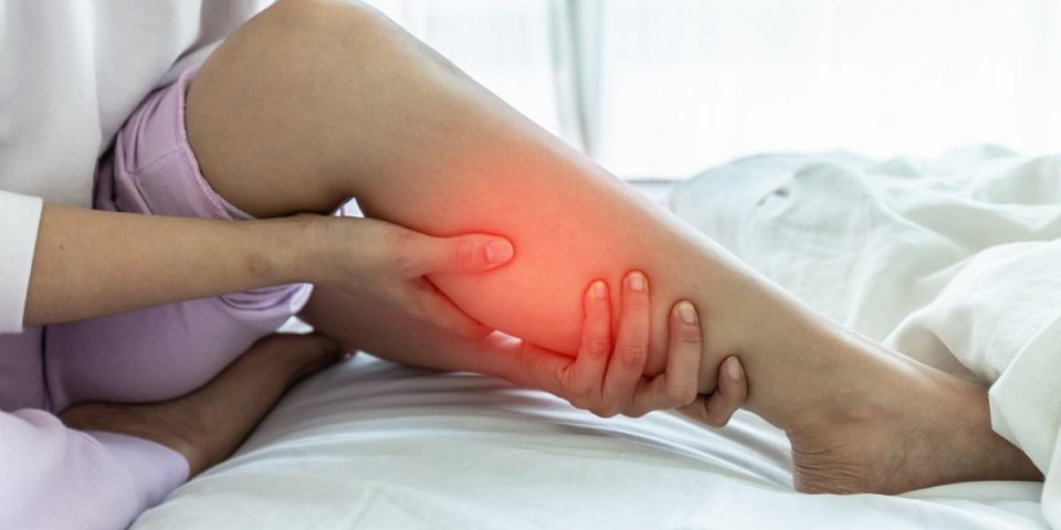 woman have a calf leg pain and muscle leg pain,healthcare concept