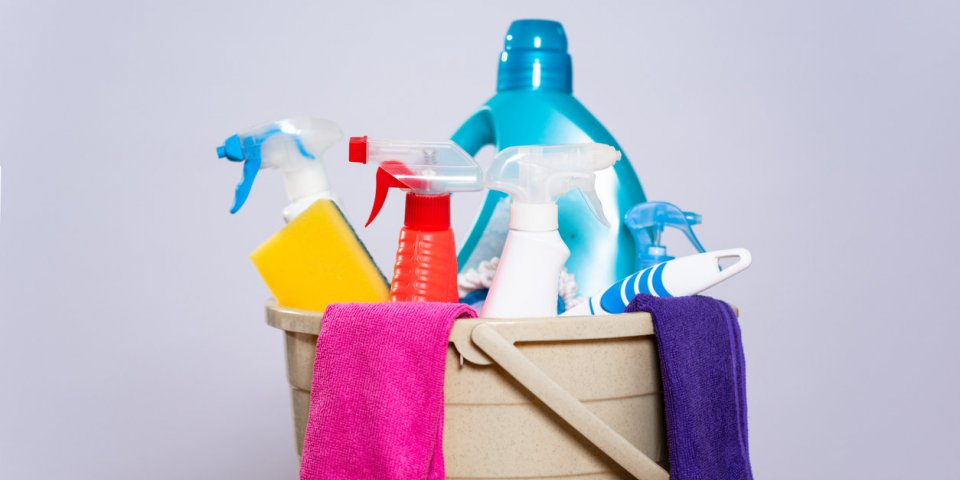 household cleaning materials, buckets, floor cloths, mops and chemical cleaning sprayers
